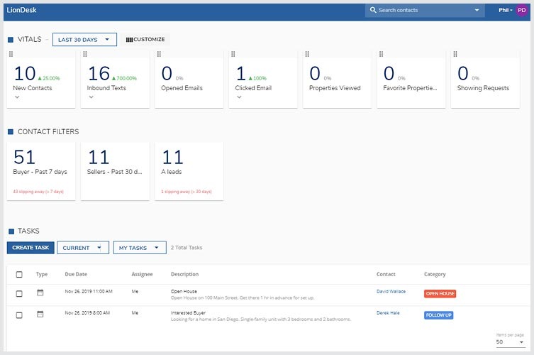 View LionDesk CRM Screenshot